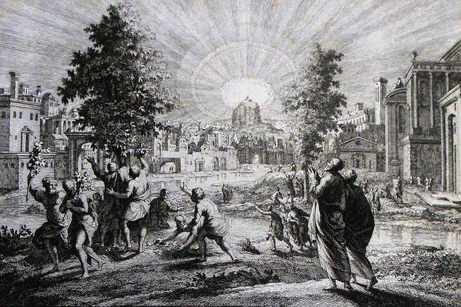 Apocalypse_43._The_tree_of_life._Revelation_cap_22_v_2._Mortier's_Bible._Phillip_Medhurst_Collection