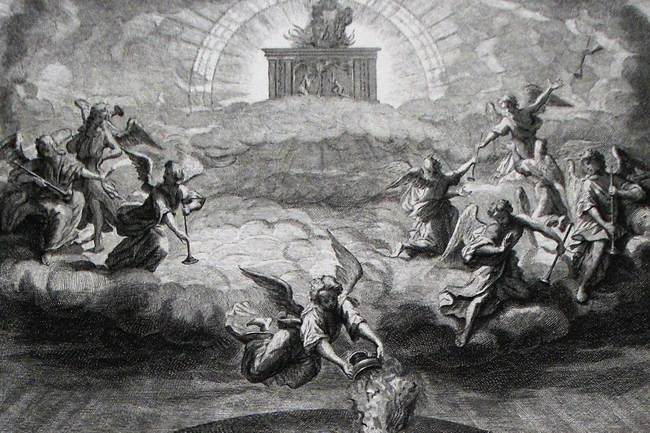 Apocalypse_8._Opening_the_seals._Revelation_cap_8_v_1-5._Mortier's_Bible._Phillip_Medhurst_Collection