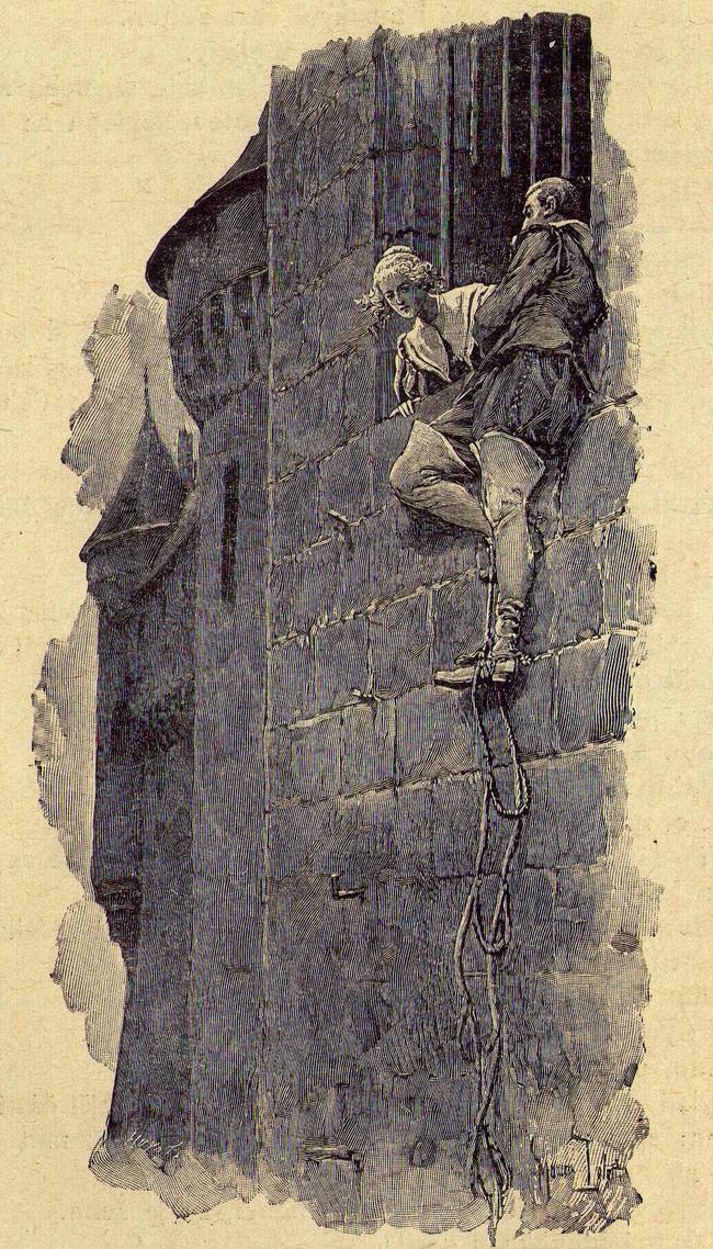 OBR: Mylady prchá z vězení. Ilustrace Maurice Leloira ke knize Tři mušketýři, Alexandra Dumase