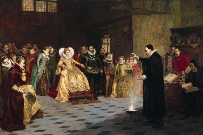 OBR: Alchymista John Dee experimentuje před anglickou královnou Alžbětou I.