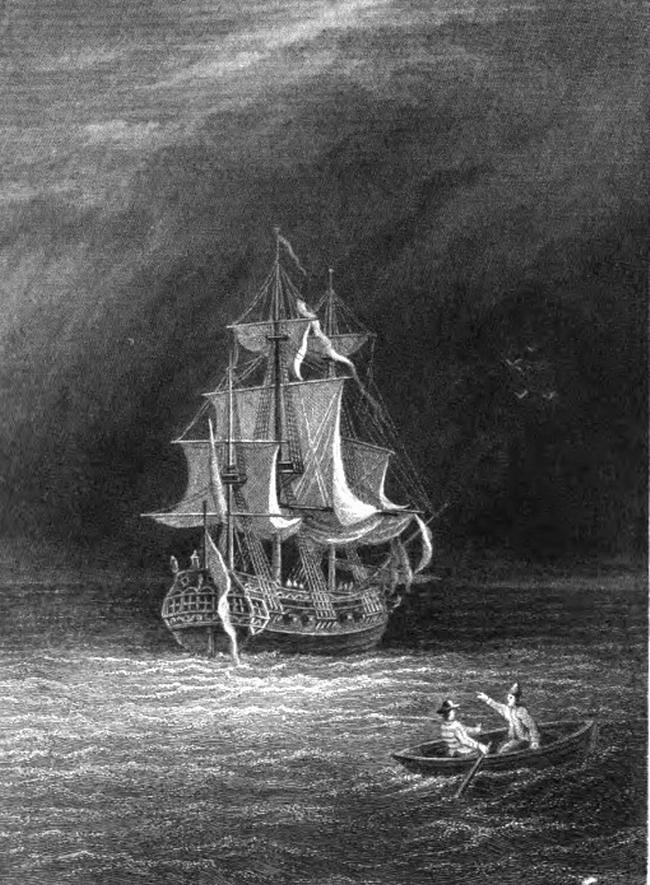 OBR: Ilustrace k novele Fredericka Marryata Fantomova loď (1847)