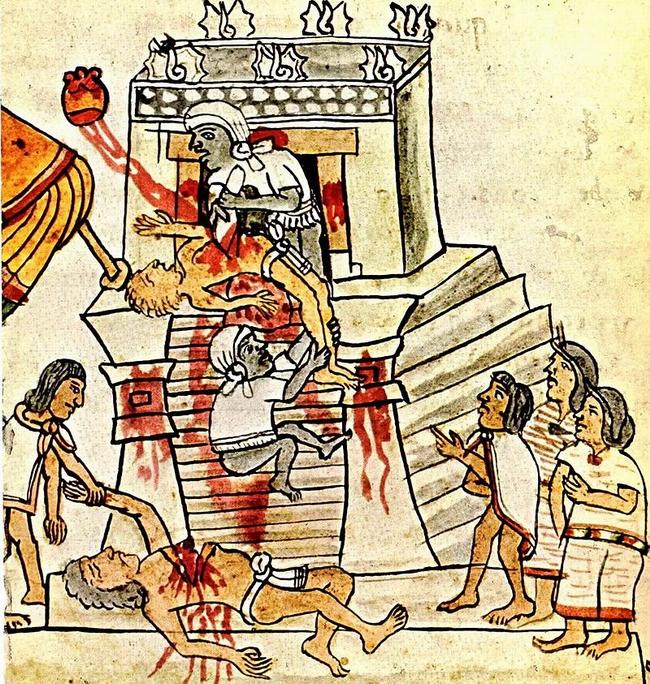 REPRO: Obětování lidí pro boha Huitzilopochtli. V Aztécké říši k němu docházelo údajně každý den ráno, při východu slunce.