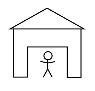 obrázkový hlavolam domek s panáčkem